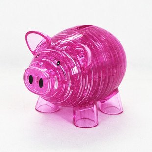 Candice guo! New arrival hot sale 3D crystal puzzle multipurpose piggy bank model DIY funny game creative gift 1pc