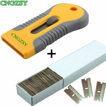 1pc Old Film Glue Removal Razor Scraper Spatula Cleaning + 100pcs carbon steel metal blades Car Auto Vinyl Wrap K42