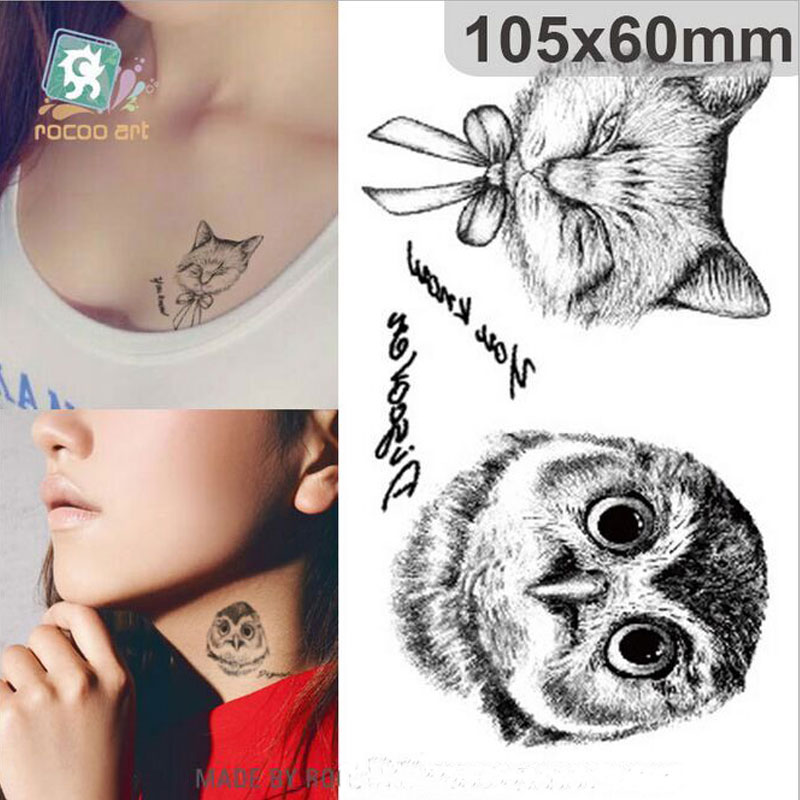 AC-090 Owl Tattoo Disposable 3d Waterproof Body Art Arm Hand Cat Temporary Tatoo Stickers Wholesale Paste Pattern
