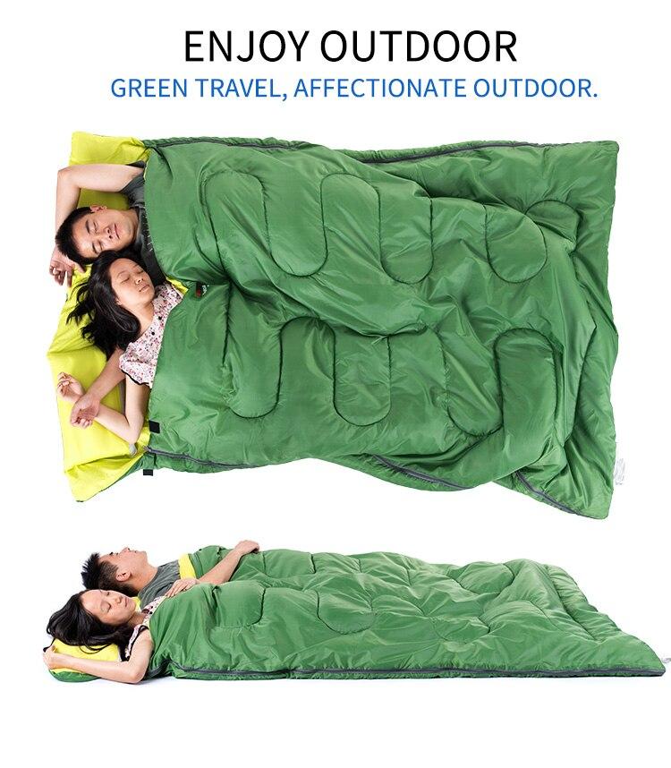 Naturehike Новый хлопковый спальный мешок для 2 человек, спальный мешок для кемпинга с подушкой, спальный мешок для полудня - 4