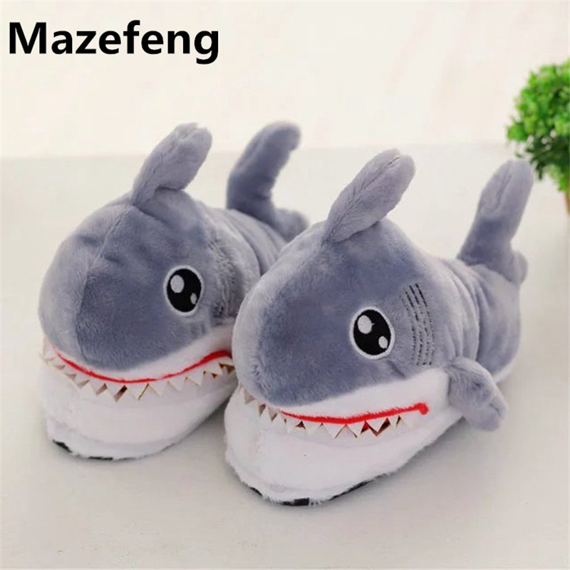 Hot 2016 most personality shark home slippers women men for Life size shark plush