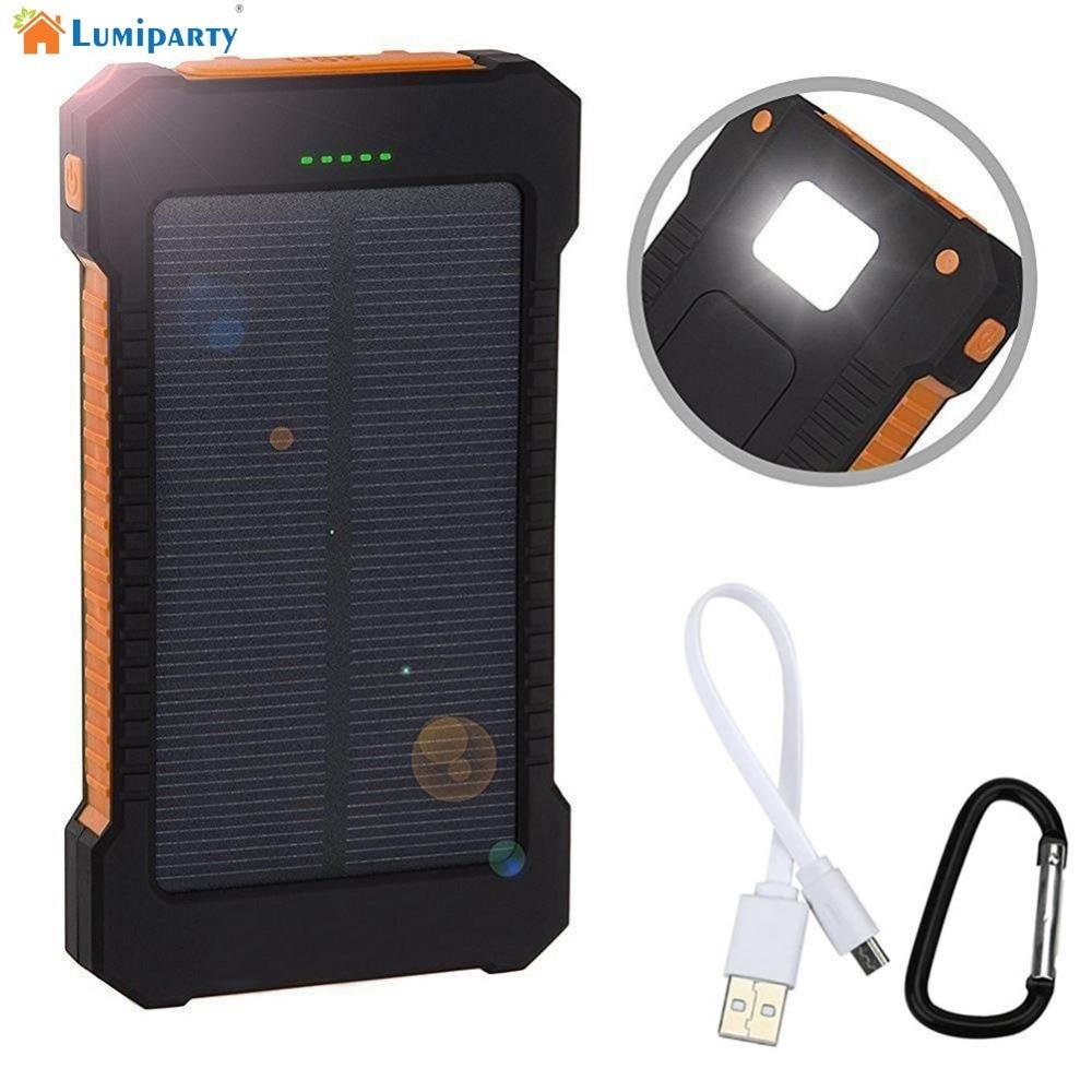 Lumiparty Impermeable Universal de 8000 Mah Banco de la Energía Solar Cargador S
