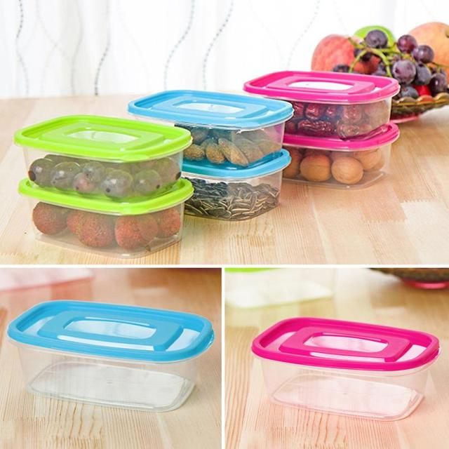 High Quality 650ML Candy Color Plastic Food Container Crisper Refrigerator  Vegetable Fruit Food Preservation Storage Box