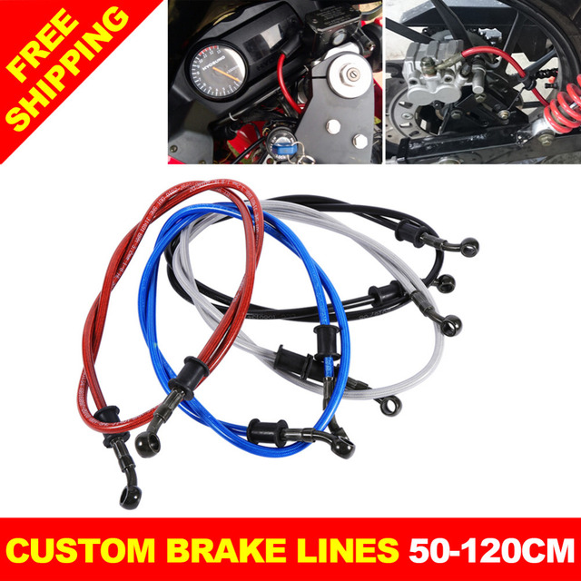 Motorcycle Braided Steel Brake Clutch Oil Hose Line Pipe Colorful Fit ATV Dirt Pit Bike Brake Clutch Line Pipe 50cm - 120cm