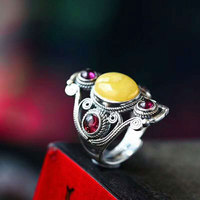 RADHORSE 925 Silver Rings for Women Fine Jewelry Amber Garnet Tibet Style Sterling Silver Ring Adjustable Silver