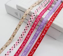 "3/8"" 9mm Printed Grosgrain Ribbon ECO-Friendly Polka Dot Heart Geometric DIY Present Box Crafts Wrap Decoration(China)"