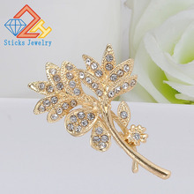 Crystal Gold colour Flower Brooches for Women Wedding Bridesmaid Rhinestone Bouquet Brooch Pin Dress Clothing Accessories
