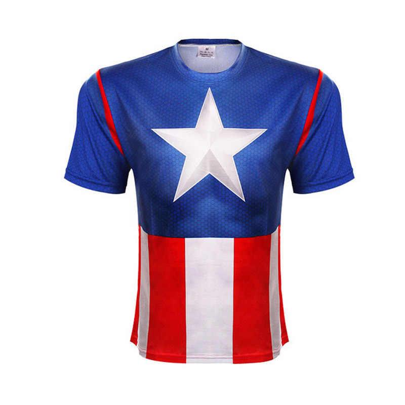 ฤดูร้อนใหม่ Marvel Batman Superman Iron Man กัปตันอเมริกาตลก Tights Hip hop t เสื้อแขนสั้นผู้ชาย 3 D พิมพ์เสื้อยืด
