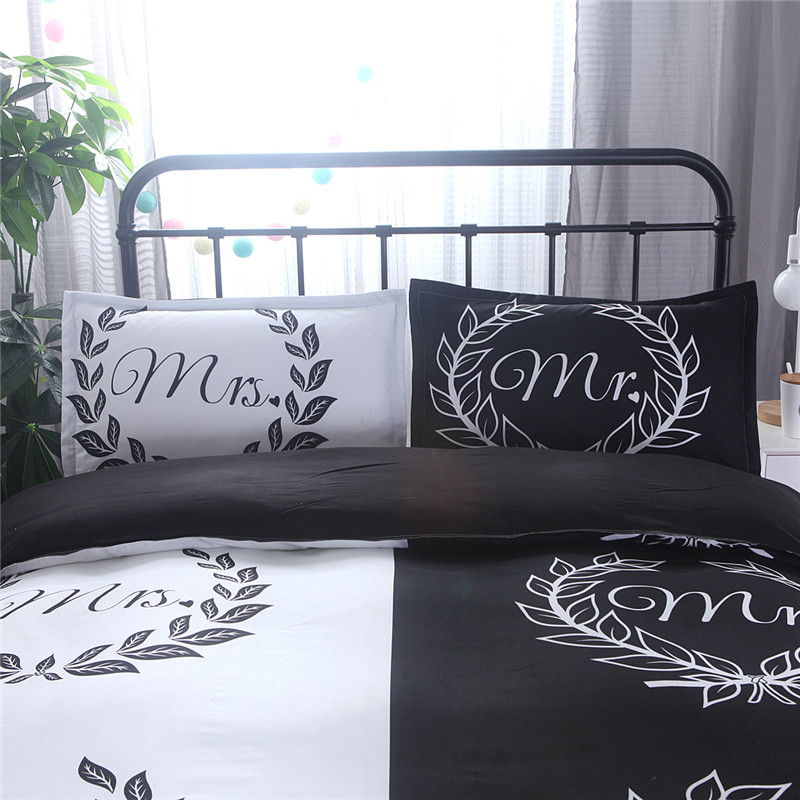 Mrs Bed Linen Housse De Coue Bedding Kit Black And White Color Bedding For Lover Used Reactive Printed Cotton Blend Mr