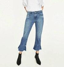 A0315F11 летние новые продукты в Европе и 660 # мода заусенцев расклешенные джинсы