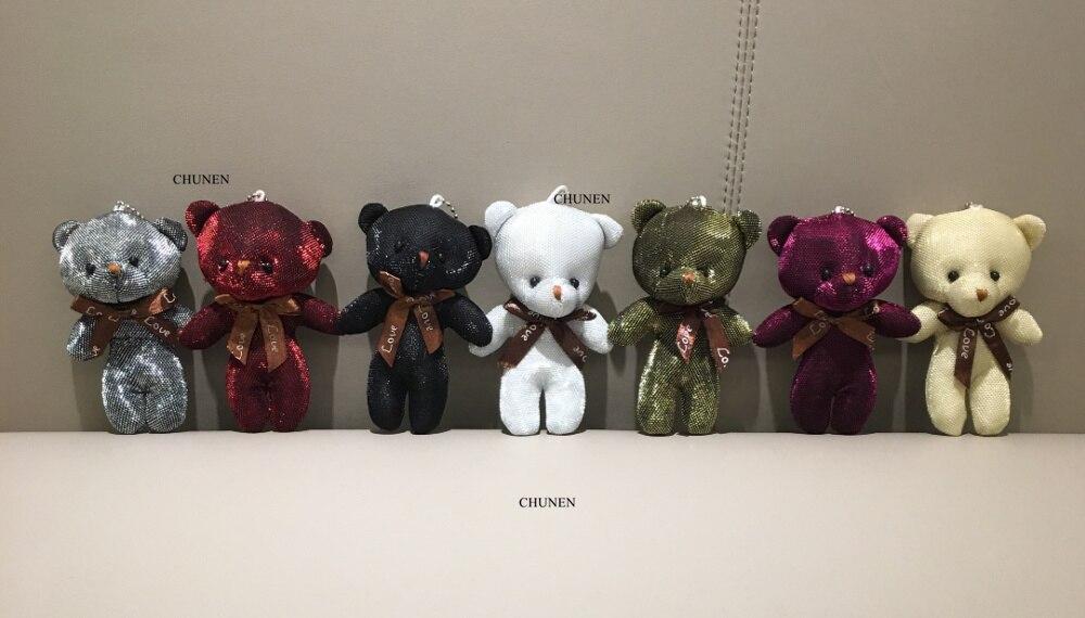 40 шт 11 см Красочный медведь мягкая игрушка кукла, брелок подвесные плюшевые игрушки куклы - Цвет: 40pcs mix colors
