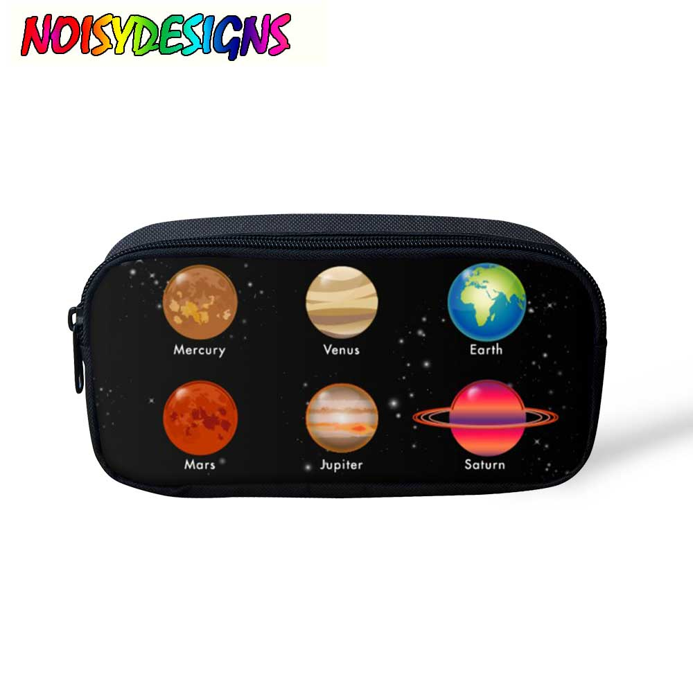 Noisydesigns Pencil Case For Girl Universe Space Solar System Print Pencil Bag Large School Stationery Boys Girls Makeup Pouch