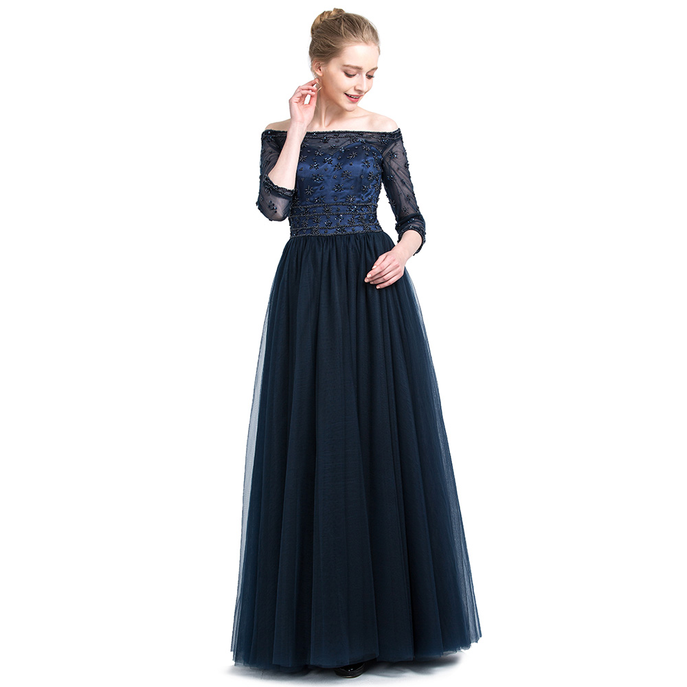 BeryLove Long Dark Navy Blue Evening Dresses 2018 Beaded Off Shoulder  Evening Dress With Sleeves Long Prom Dresses Party Gowns-in Evening Dresses  from ... 8884803f15ea