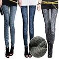 Denim Faux Legging Mulheres Outono Inverno Calças Lápis Magro Elastic Lady Casual Feminino Imitação Jeans Impresso Leggings Calças Quentes