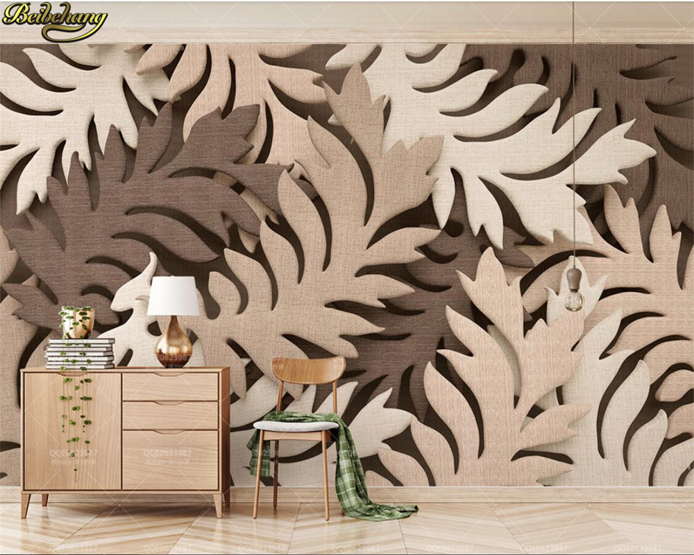 beibehang Custom photo wallpaper mural creative 3d leaf brown cloth Nordic TV background wall papers home decor papel de parede beibehang custom photo wallpaper mural 3d stereo jewelry flower twig tv background wall papel de parede 3d wall papers home deco