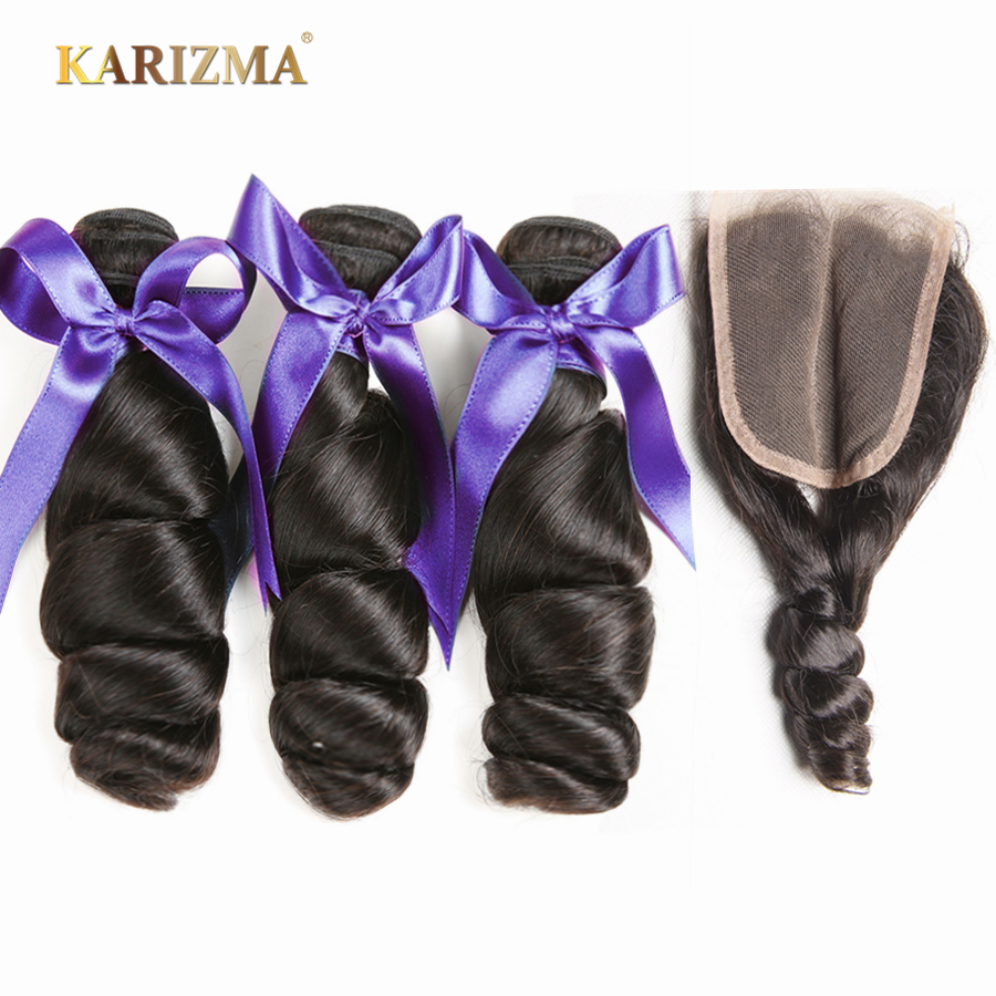 Karizma malaysian hair bundles with closure middle part loose wave human hair 3 bundles with closure
