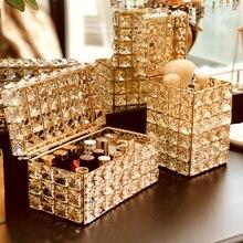 Lápiz de labios de cristal soporte de maquillaje organizador collar tocador cepillo de maquillaje joyería perla almacenamiento caja de decoración adornos bandeja