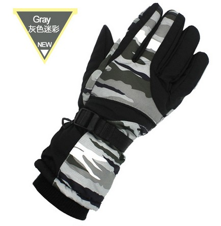 Mens gray camouflage ski gloves male five finger cycling mountaineering skiing gloves winter sports gloves grey snowboard gloves