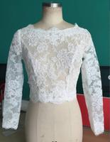 Long Sleeve Lace Wedding Bolero Jacket custom made 2017 Bridal Jackets