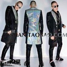 Певец DS длинная куртка Штаны костюм этап клиентам DJ Бар Пром показать модное пальто брюки комплект из 2 элементов производительность заказчика