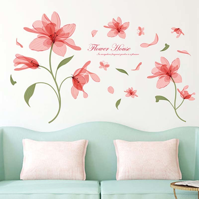 Ethereal flower Flowers Wall Sticker On The Wall VinYl Wall Stickers Gome Decor Bedroom Backdrop Wall Decals