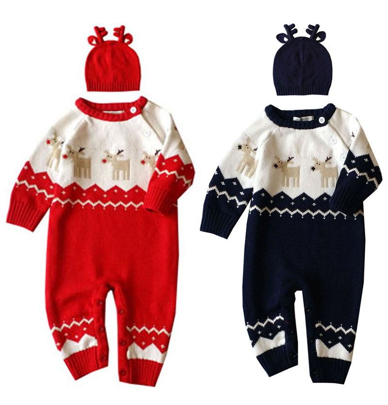 Baby Christmas Rompers Thick Infant Clothes Newborn Baby Clothes Set Deer Jumpsuit Knit Reindeer Hat Baby Winter Clothing Sets hot winter beanie knit crochet ski hat plicate baggy oversized slouch unisex cap
