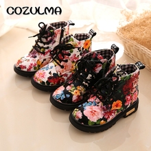 COZULMA Baby Boots Kids Elegant Floral Flower Print Shoes Sneakers Toddler Martin Leather Children