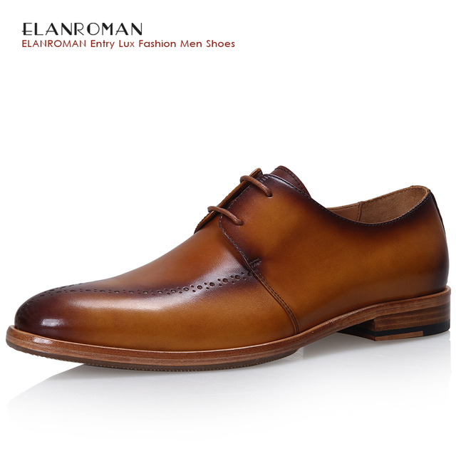 Elanroman Men S Formal Shoes Dress Derby Cow Leather Lace Up Pointed Toe Party Wedding
