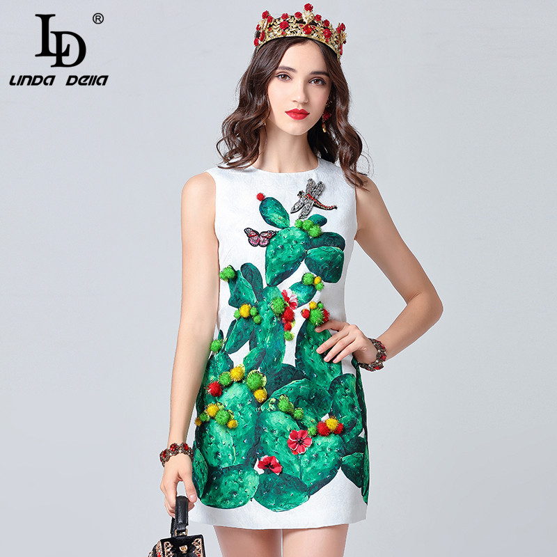 LD LINDA DELLA Crystal Dragonfly Plant Print Mini Dress 12111007