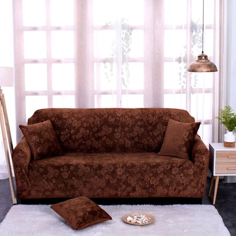 Embossed Printed Thick Flower Velvet Elastic Fabric Sofa Cover General European Style Slipcover Soft Sofa Cover