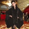 Mujeres Cardigan Otoño Invierno Clásico de Punto Poncho de la Cachemira de Imitación Mantón Nupcial De La Boda de Plumas de Avestruz de Lana Manto F92