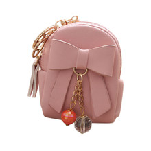 Mulheres Faux Leather Mini Chaveiro Bowknot Dangle Bead Pingente Bag Coin Purse(China)