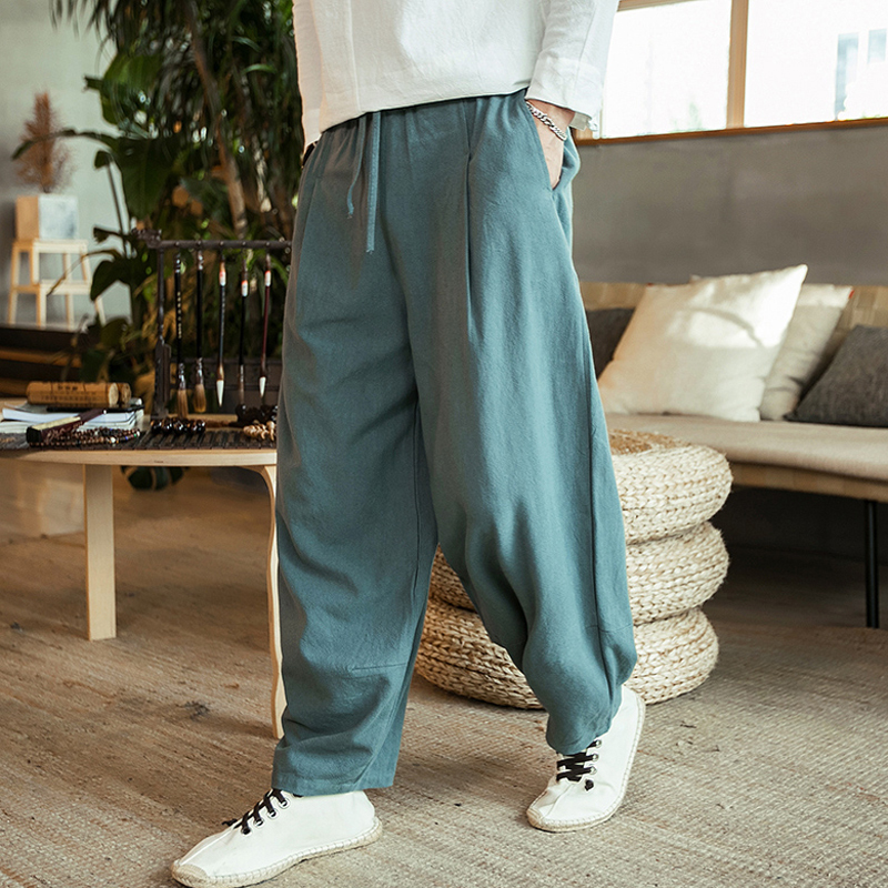 New 2019 Autunm Men's Plus Size M- 5XL 6XL 7XL Cotton Linen Pants,Fashion Streetwear Wide Leg  Harem Hip Hop Trousers Large Size