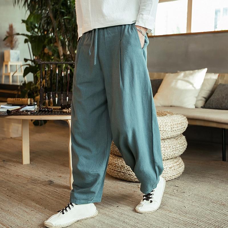 New 2020 Autunm Men's Plus Size M- 5XL 6XL 7XL Cotton Linen Pants,Fashion Streetwear Wide Leg  Harem Hip Hop Trousers Large Size