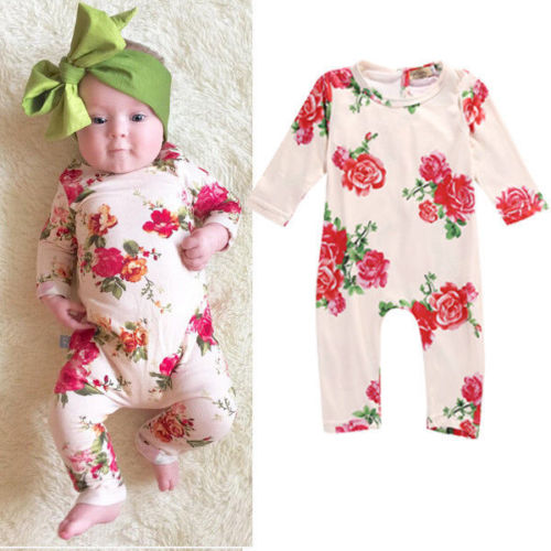 Cute Baby Girl Clothes Newborn Infant Baby Romper Flower Long Sleeve Cotton Bebes Clothing Outfit 0-24M 2016 cute baby rompers cotton long sleeve baby clothing overalls for newborn baby clothes boy girl romper ropa bebes jumpsuit