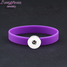 Wholesale Silicone Snap Button Bracelet Interchangeable Charm Jewelry For Woman Man(Fit 18mm snaps )