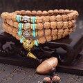 Tibetano KingKong Bodhi Beads 108 Pulseiras Rosário 8mm Rodada Ágata Azul Rudraksha Bodhi sementes Oração Buda mala Japa