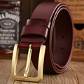 2017 brand new fashion classic pin buckle genuine leather belt gold luxury waist strap cowboy designer belts for men jeans