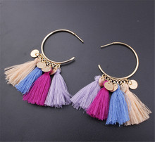 LOULEUR Hot Selling Ethnic Bohemia Drop Dangle Tassel Earrings for Women Long Rope Fringe Cotton Trendy Earrings Fashion Jewelry bohemia round fringe dangle earrings