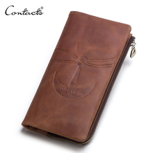 CONTACTS new crazy horse genuine leather wallets vintage men wallet brand purse card holder male long clutch with zipper pocket