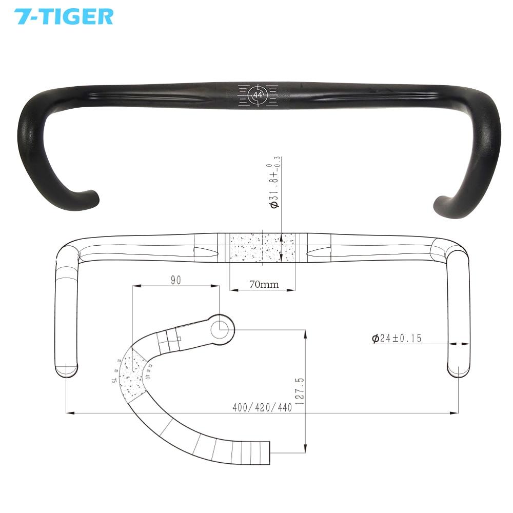 7-tiger Carbon road bicycle handlebar reach 90 mm drop 127.5 mm lightweight bike bar 400/420/440*31.8mm for TBH-R011 cycling bike bicycle handlebar tape belt wrap w bar plug yellow camouflage 2 pcs