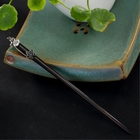 Silver 3d Lotus Ebony Hairstick Vintage Chinese Hairpin Flower Wooden Hair Fork Women Hair Accessories Hair Pin 18cm WIGO1285