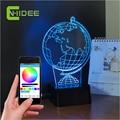 Regalos creativos 3d Noche Luz Globo Terráqueo USB Controlador de Iluminación del Hogar Lámpara de Mesa Led de Música Bluetooth Phone App Lampara