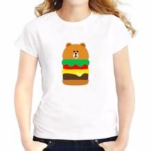 cute Brown bear Hamburger drawing t shirts feminina JOLLYPEACH new soft Breathable tshirt Short Sleeve casual T-Shirts femme