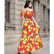 New 2017 Plus Size cotton summer Women Dress Short Sleeve Casual Sexy Wide Boat Neck Vestidos Floral Print Long Maxi Dress