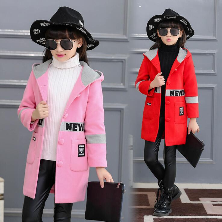Fashion Letter Wool Coat For Girls Hooded Thick Winter Children's Coats Single-breasted Pocktes Parkas Manteau Laine Enfant
