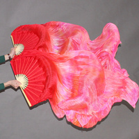 Stage Performance Property Dance Fans 100% Silk Veils Colored 1.8m Women Belly Dance Veils Fan Tie Dye (10 pairs)