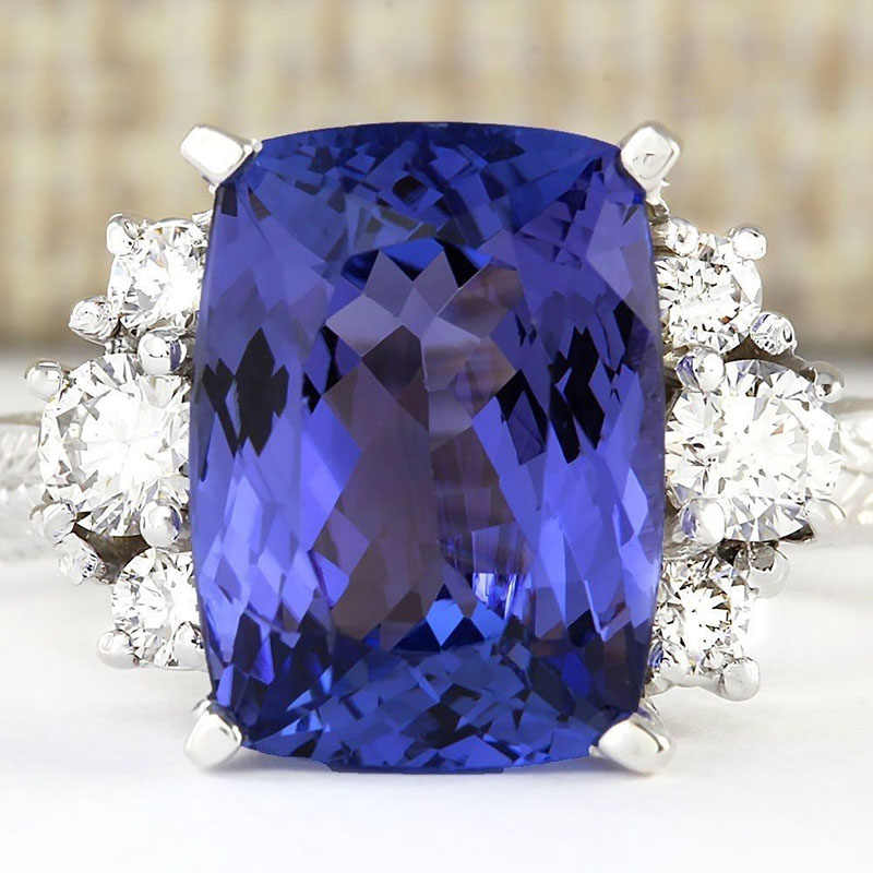 Princess Cut Dark Blue Stone Rings for Women Luxury Jewelry Ring Men Crystal Silver Color Ring Bague Femme Anillos Mujer O5K052