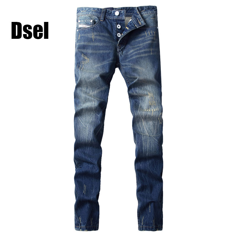 2017 High Quality Dsel Brand Men Jeans Fashion Designer Distressed Ripped Jeans Men Straight Fit Jeans Home,100% Cotton,G9003 2017 new original high quality dsel brand men jeans straight fit distressed ripped jeans for men dsel brand jeans home 604 a