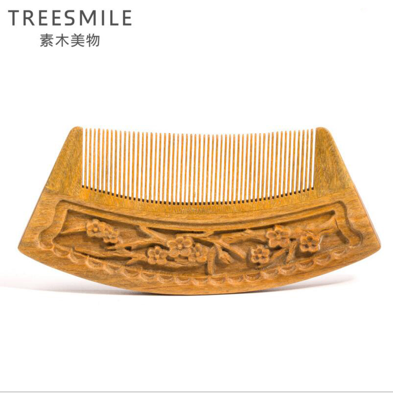 TREESMILE 1PC sandalwood comb anti-static hand-carved green sandalwood plum comb natural wooden hair brush styling tools D50 carbon fiber antistatic brush remove static electricity 1460x1400mm